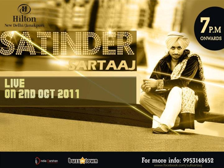 Satinder Sartaaj Delhi LIVE, Oct 2nd, Hilton, Janakpuri